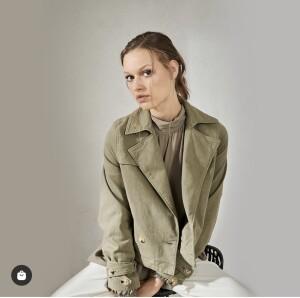 Denim short trenchcoat style jacket in sage colour
